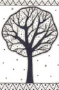 Pen and Ink Drawing of Stylised Bright Tree